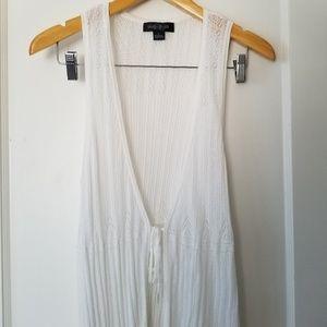 august silk Jackets & Coats - August Silk Open Knit Boho Thin Cotton Vest